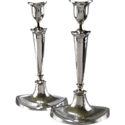 Old Sheffield Plate Silver Candlesticks c.1790 Antique Georgian Crested Pair