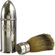 Antique Sterling Silver Travel Shaving Brush c.1900 Bullet Shape