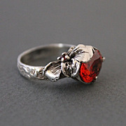 Ring Sterling Silver Padparadscha Sapphire Garnet Ring