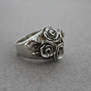 Sterling Silver Ring Flowers Antique Look