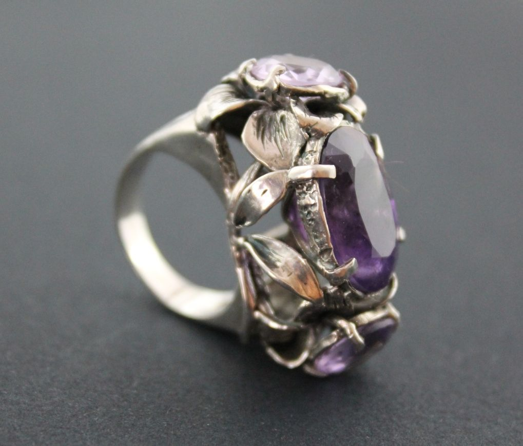 Ring Sterling Silver Three Amethyst  Unique