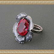 Sterling Silver Oxidized Ring Red Topaz