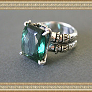 Antique Look Silver Ring Green Amethyst