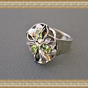 Amazing Silver 14k. Gold Peridot Unique handmade Ring Art Deco style