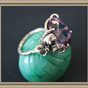 Ring Sterling Silver Color Change Czochralski Alexandrite