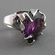 Sterling Silver Ring One-Of-A-Kind Huge  Amethyst Ring