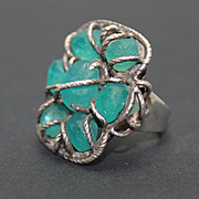 Ring Sterling Silver Sky Blue Topaz Rough Ring