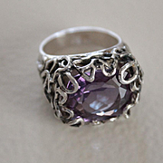 Ring Sterling Silver Color Change Czochralski Alexandrite One-Of-A-Kind