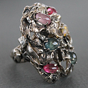 Renaissance  Style Ring Sterling Silver Mix Natural Sapphires