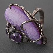 Ring Sterling Silver  Crystal Agate Druzy Quartz Amethyst Free Shipping !!!