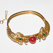 Gold Tone vintage fish head faux seed pearl red stone bracelet super!