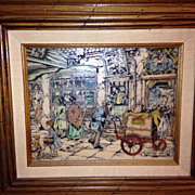 Anton Pieck cultured marble engraved print framed!
