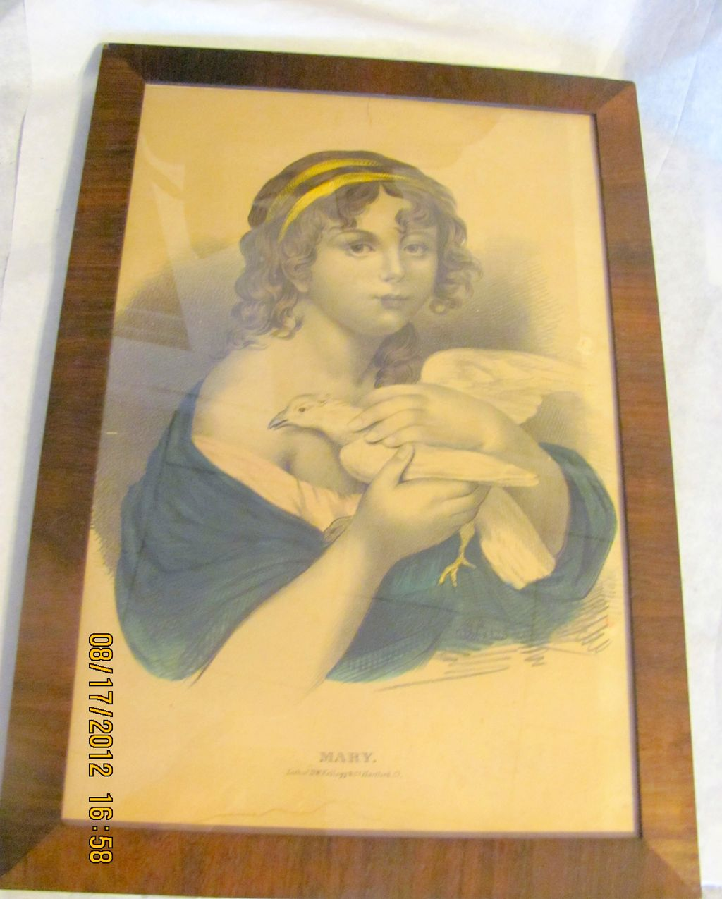 Antique Kellogg Hartford CT Woman with dove/bird Mary lithograph print framed nice!