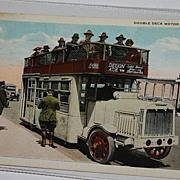 Chicago IL Double Deck Motor bus postcard transportation