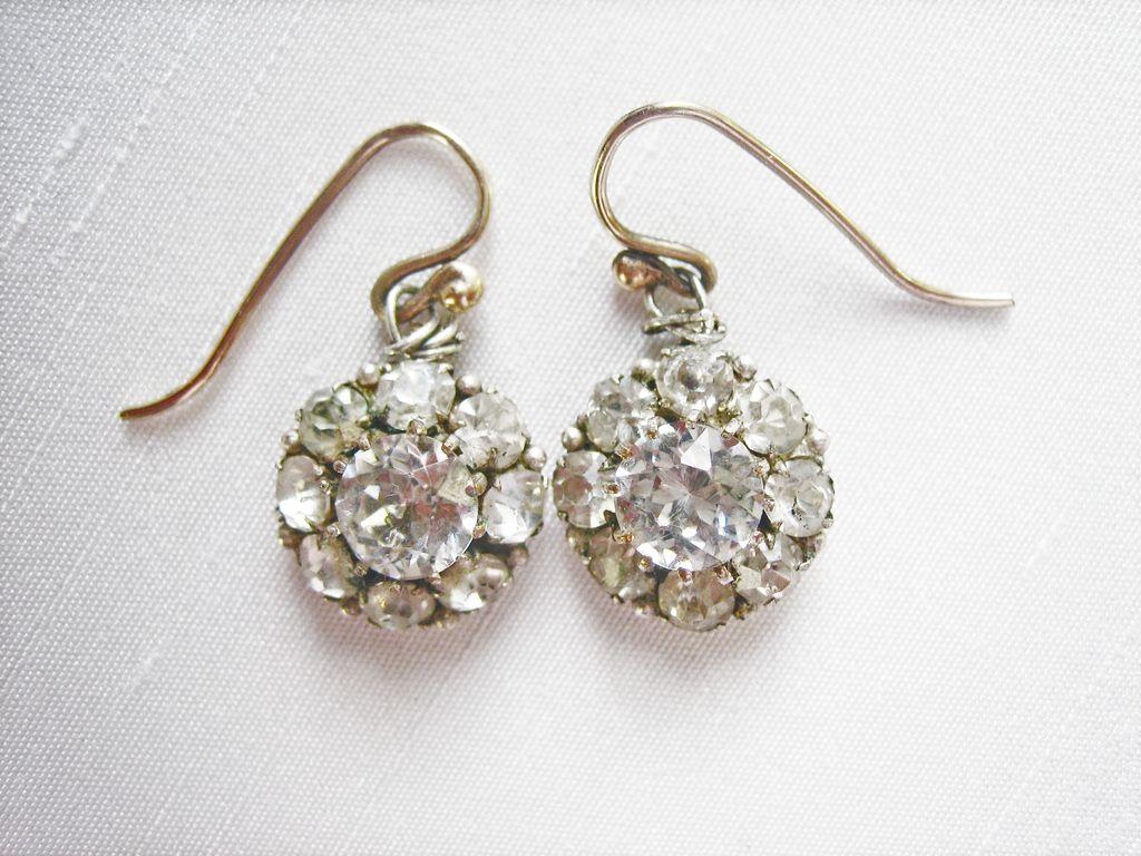 ...HUGE Antique English Georgian 9 kt Gold (5) Carat Rock Crystal Earrings