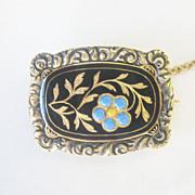 .Antique Georgian Enamel Solid 14 kt Gold Forget Me Not Flower Pin