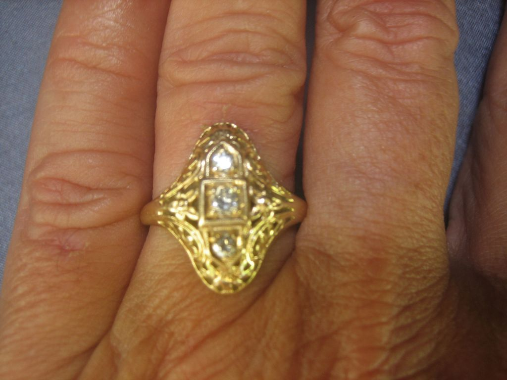 SOLD LABOR DAY..Antique Edwardian 14 kt Yellow Gold 1/4 Diamond(G-VS2) Cocktail Ring