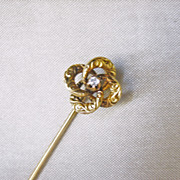 Antique Victorian 10 Kt Gold Diamond Stick Pin