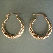 """SALE VALENTINE'S..Vintage 10 kt Gold 1"""""""" Diameter Hoop Earrings"""