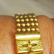 Vintage Art Deco 5 Strand Brass Ball Bracelet