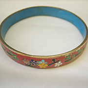 Vintage Art Deco Chinese Cloisonne Enamel Bangle Bracelet
