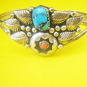 ....Vintage Sterling Mid Century Navajo Turquoise Coral Cuff Bracelet
