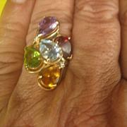 ..Large Vintage 5 ct. Multiple Gemstone Diamond 14 kt Gold Ring