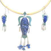 ..Vintage Sterling Lapis Malachite Tribal Mask Pendant, Pin and Earrings Set