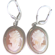 Antique Victorian 10 kt and Sterling Cameo Drop Earrings
