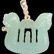 ...Vintage 14 kt Chinese Translucent Sea Dragon Pearl Enhancer Pendant