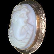 Antique Edwardian Rose Gold 10 kt Cameo Pin Brooch