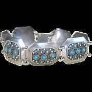 Vintage Sterling Persian Turquoise Link Bracelet