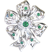 SALE CLEARANCE..Vintage Art Deco Sterling Crystal Flower Fur Clip Pin
