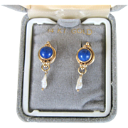 Vintage 14kt Lapis and Non-cultured Freshwater Pearl Earrings
