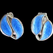 Vintage Sterling David Anderson Sterling Enamel Leaf Earrings