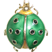 SALE CLEARANCE..Vintage Mid Century Enamel Italian Sterling with Gold Plated Lady Bug Pin