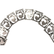 Antique Sterling circa 1900's Victorian Courting Silhouette Panel Bracelet