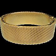Vintage Gold Plated Mesh Clamper Bangle Bracelet