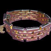 Vintage Heavy Gold Plated Mid Century Gate Link Bracelet