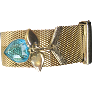 SALE VALENTINE'S..Vintage Retro (1940's) Gold Plated Mesh Bracelet with Hearts