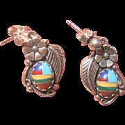 Vintage Navajo Wilbert Manning Sterling Turquoise Gemstone Earrings
