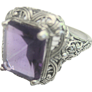 SALE VALENTINE'S ..Antique Sterling Victorian 4.5ct Amethyst Filigree Ring