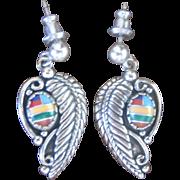 Vintage Sterling Navajo Chad Hoskie Earrings