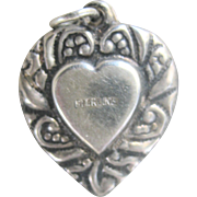SALE VALENTINE'S..Antique Large Victorian Sterling Puffy Heart Charm