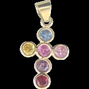 Vintage 14 kt Gemstone (1 carat) Cross Charm Pendant
