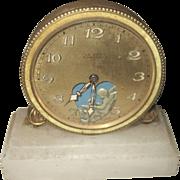 SALE VALENTINE'S ..Antique (circa 1900) Swiss Gilt Marble Cupid Clock