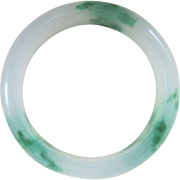 Vintage Chinese Translucent Green White Jade Bangle Bracelet