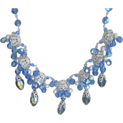 """Drippy"" Vendome Crystal Blue Necklace"