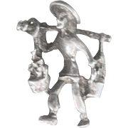 """Vintage Sterling Art Deco (circa 1920""""s)Chinese Water Man Charm"""