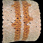 Vintage Art Deco Seed Bead Wide Bracelet